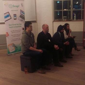 onefinestay HQ - Our Head of Technology Sathya speaking to a packed room of developers at an event on Tech & Culture
