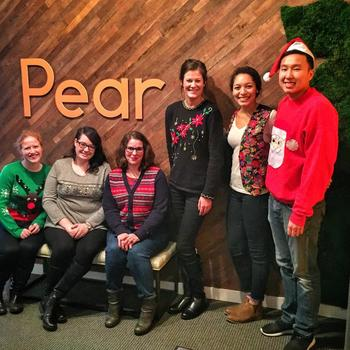 Pear - Sporting our ugly holiday sweaters in the office!