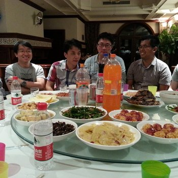 Marin Software - Shanghai office enjoying a house party. Yum! Look at that food!