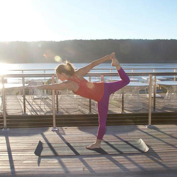 IAC Applications - Rooftop yoga on our roof deck in Yonkers!
