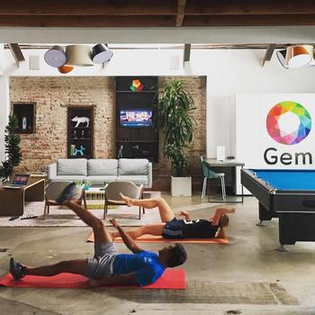 Gem - Every Tuesday and Thursday morning we break a sweat in the office.