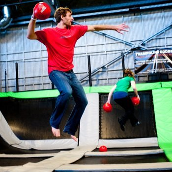140 Proof - we played a dozen friendly games of trampoline dodgeball