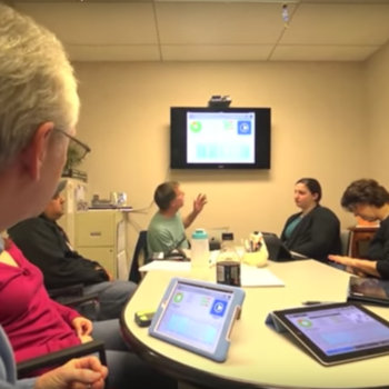 Constant Therapy - Group therapy session using Constant Therapy at a clinic in DC