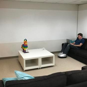 Nitrio - Take a break for an automatic foot massage in the brainstorming corner where we plan our next big milestone (after which, we will break open the piñata!)