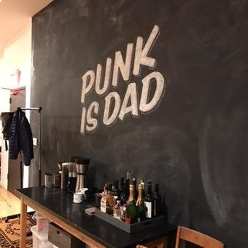 "Fatherly - New Office Space that we moved into January 17th. ""Punk is Dad"" is a play on the 70s phrase ""Punk is Dad""."