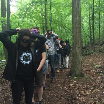 goTenna - On one of our team off-sites, we did survival skills training upstate. Here we're simulating total darkness/loss of vision. (Jun. 2016)