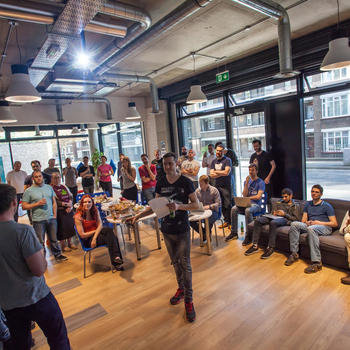 Masabi - All-hands catch up every 2 weeks where developers demo their work