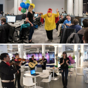 Echo Global Logistics, Inc. - This is how you celebrate a week-day birthday! Two Echo team members were serenaded—one by a singing chicken & the other by a mariachi band!