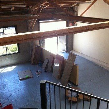 Technical Machine - Our office just before we moved in! We have an open bay door and huge overhead skylights.