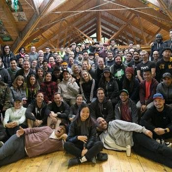 The Working Group - Team photo from 2017 retreat at Camp Winnebago