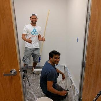 Wonder Workshop - Our CEO and Director of Mechanical Engineering, repainting a conference room !