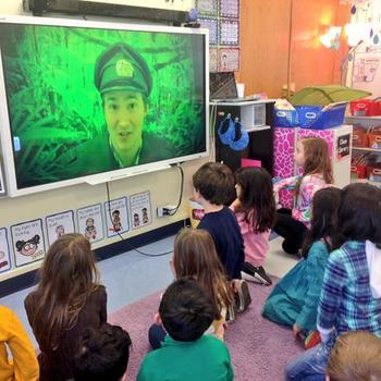Night Zookeeper - Here's Josh, our CEO, talking to a class of kids via Skype. He's live from the Night Zoo!