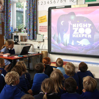 Night Zookeeper - We go to schools a lot! Here's Buzz again, talking a class through our website.