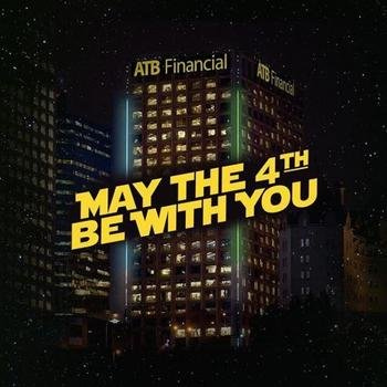 ATB Financial - We like to light up our Edmonton headquarters on occasion for things we find important #StarWarsDay