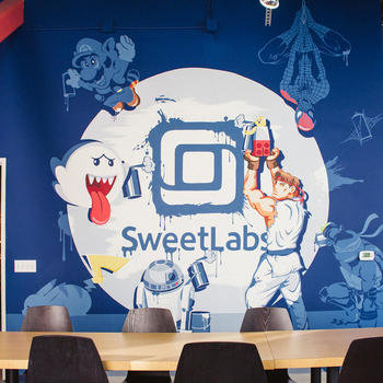 SweetLabs - Custom painted mural in our kitchen