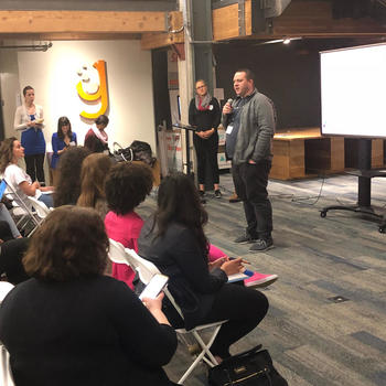 Harbor - Co-founder & CTO Bob Remeika judging at WomenHack hackathon event