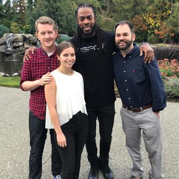 FleetWit - David and Mary with Ken Jennings and Richard Sherman! They love trivia.