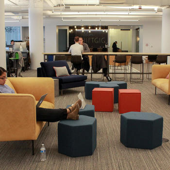 Shiftgig - Our open office floorplan allows for collaboration to happen at any given moment.