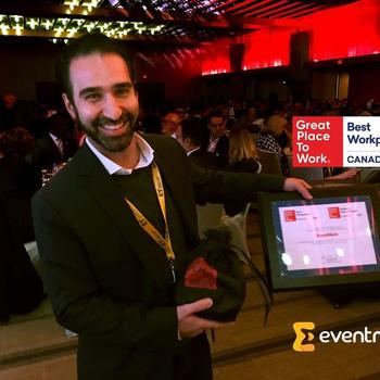 EventMobi - Our CEO and Cofounder with our Best Workplaces in Canada  Award.