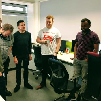 OpenMarket - Stand up meeting in our UK office