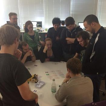 Everquote, Inc. - Competitive game of Set going on at lunch