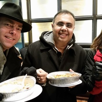 McFadyen Solutions - Team at NRF in New York City 2015 - eating Halall Guys late on a cold night.