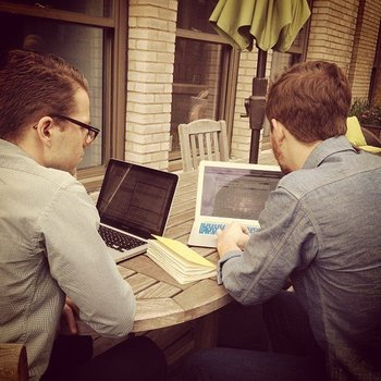 Take the Interview, Inc. - Two members of our Customer Success team delivering happiness on the outdoor patio.