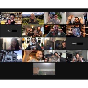 Potato Inc - Enjoying a guided wine tasting for a virtual Friendsgiving in 2020.