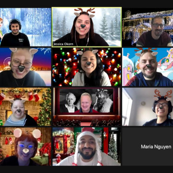 CareGuide - White elephant Zoom call with everyone wearing different filters.