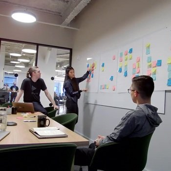 Frame.io, Inc. - Product and Engineering collaborating in the office.