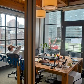 VoiceLayer - We currently work at Galvanize, a co-working space in SOMA: http://www.galvanize.com/campuses/san-francisco-soma/