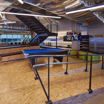 TeleSign Corporation - Our Employee Lounge: Pool table at the foreground with a fully stocked kitchen in the background