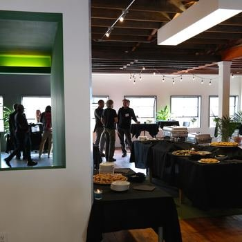 MyDomino - Scenes from the office party - our mid-century modern industrial office used to be a design space. Its alright.