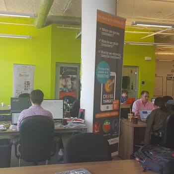 CrossTarget - Our office space at MassChallenge, where 127 other startups are working for their visions too.