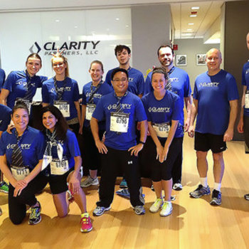 Clarity Partners - Getting ready for the JP Morgan Corporate challenge. This is what awesome looks like (say the back of our t-shirts)!
