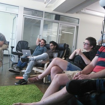 Reelio - Some of the team pondering during a presentation